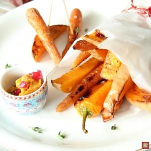 Fast Food mit Kürbis-Dipp