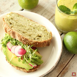Sandwich with green tea.